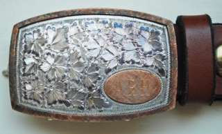 Sterling Silver Vogt Belt Buckle~10K Gold~Hand Engraved