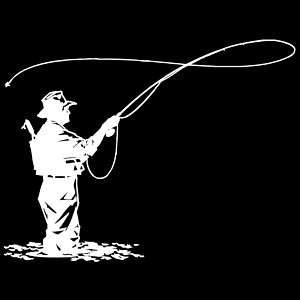Fly Fishing Die Cut Vinyl Decal (578) (003) fishing, outdoors, anglers