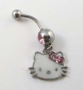 New Stainless Steel Rhinestone HELLO KITTY Belly Ring Naval