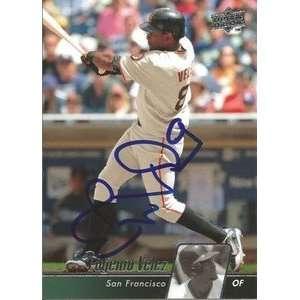Eugenio Velez Signed San Francisco Giants 2010 UD Card