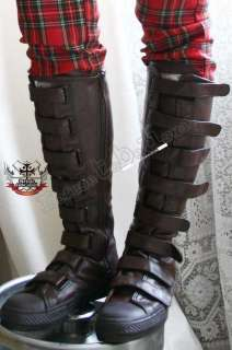 SteamPunk 8 VELCRO STRAP LARP Vegan Leather Knee Boot