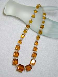 DECO Graduated Amber & Clear Crystal CHOKER Necklace