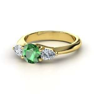 Triad Ring, Round Emerald 14K Yellow Gold Ring with