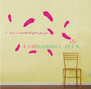 various colors) Feather Decor Mural Art Wall Sticker Decal Y369