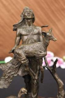 Native American Indian Warriors Chief Bronze Statue Figurine Sculpture