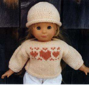 American Girl Doll Knitting Pattern Heart Sweater + Hat