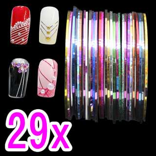 29X Self Adhesive UV GEL Nail Art Tips Decoration Striping Tape Color