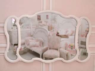 Shabby Cottage Chic White French Style Triptych Mirror Dresser Wall