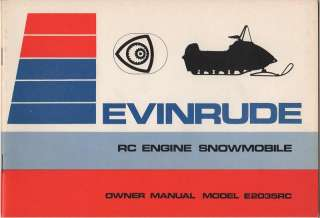 EVINRUDE RC ENGINE SNOWMOBILE OWNERS MANUAL