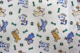 BLUE DOGS PUPPIES PETS SPOT PLAY BONE SEW CRAFT 45 FLANNEL FABRIC