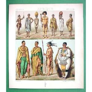 COSTUME of Africa Zulu Caffre Hottentot Venus   SUPERB Antique Print