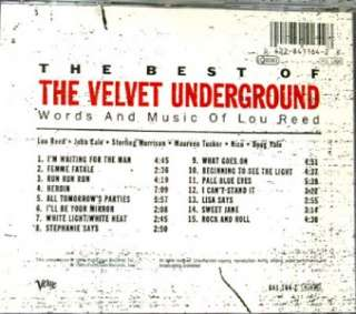 THE BEST OF VELVET UNDERGROUND WORDS AND MUSIC OF LOU REED 15 Track