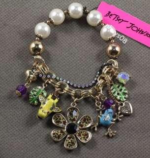 Betsey Johnson multi element frog giraffe flower leaf pearls stretch