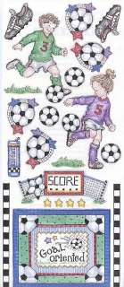 is a sheet of stickers from penny black stickeroos called soccer kids
