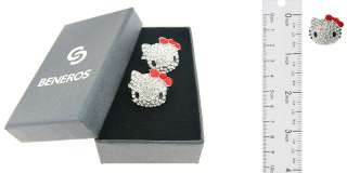 Cute Large Silver Hello Kitty Stud Earrings Red Bow with Swarovski