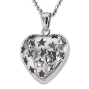 Stainless Steel Polished Hollow Star Cut Out Heart on a 20