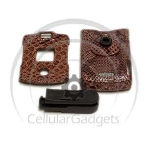 PREMIUM BROWN SNAKE SKIN with BELT CLIP Faceplate / Case / Cover for