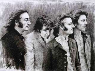 The Beatles Sketch Portrait Charcoal Pencil Drawing