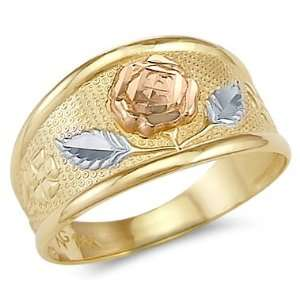 13   14k Yellow Tri Color Gold Ladies Rose Flower Leaf Ring Jewelry
