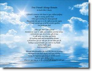 Friend Friendship Poem TRUE FRIENDS ALWAYS REMAINS