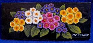 SMALL OIL PAINTING WOOD PANEL FLOWERS TROMPE LOEIL