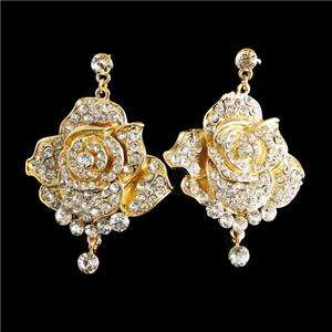 Trio Rose Flower Earring Necklace Set Swarovski Crystal Clear