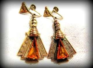 FABULOUS!! 1920s ART DECO Egyptian Revival AMBER GLASS Gilt