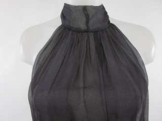 SAMANTHA TREACY Navy Gray Silk Halter Top Blouse Sz 4