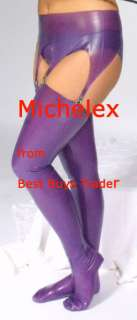 Purple Latex Rubber Stockings Transvestite XL