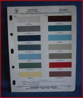1962 BUICK & SPECIAL Auto Paint Chip Colors   Ditzler