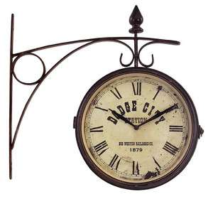 Vintage Double Sided Train Station CLOCK Vintage NEW