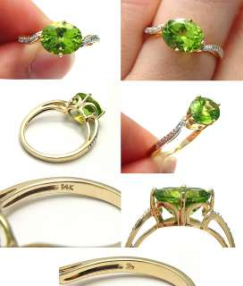 VINTAGE 3.10CTW GREEN PERIDOT DIAMOND 14K SOLID GOLD DESIGNER