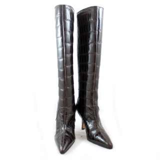 Manolo Blahnik Dark Brown Knee High Crocodile Boots Sz. 39