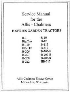 Allis Chalmers B Series Garden Tractors SERVICE manual