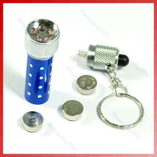 LED Mini Flashlight Torch Key Chain Key Ring Blue