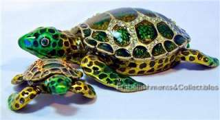 Turtle + Baby Rucinni Trinket Box Swarovski Crystals