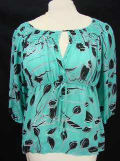 ALFANI 12 100% Silk Black Green Pattern Blouse Top