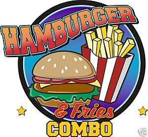 Hamburger Combo Concession Fast Food Sign Decal 14