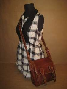 Vintage Rust Tan Leather Front Pocket Satchel Cross Body Field Purse
