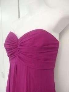BADGLEY MISCHKA purple SILK chiffon STRAPLESS full length gown DRESS $