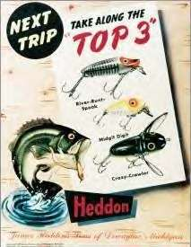 Heddon Fishing Tackle Fish Top 3 Nostalgic Tin Sign USA