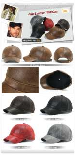 ililily New Mens Faux Leather Ball Cap Baseball Caps Trucker Hat Visor