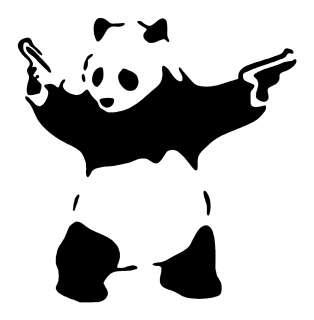 Banksy Inspired Panda Bear Guns Vinyl Decal Sticker ART