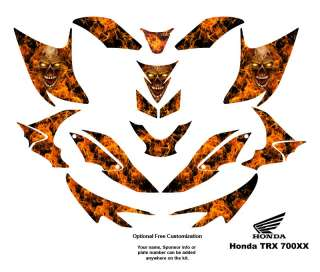 Honda TRX 700XX Graphic Decal Kit Flaming Zombie Skull