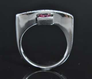 18K White Gold Rubellite Tourmaline Diamond Bar Ring
