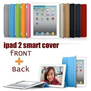 iPad 2 Magnetic Smart Cover PU Case front +back case Flip Stand iPad