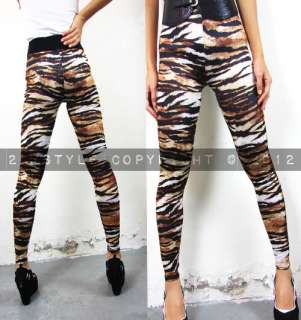 Women Leggings Tight Pants Vintage Animal Leopard Tiger Pattern