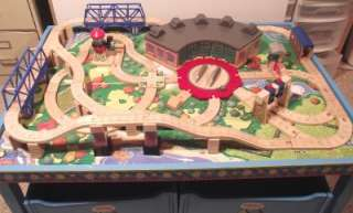 HUGE LOT Thomas Wooden Train ROUNDHOUSE SET   TABLE, PLAYBOARD