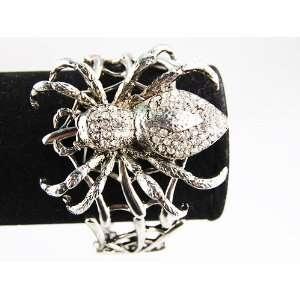 Metal Silver Tone Big Spider Man Web Swarovski Rhinestone