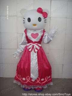 HELLO KITTY CAT IN PINK LOVE HEART DRESS MASCOT COSTUME